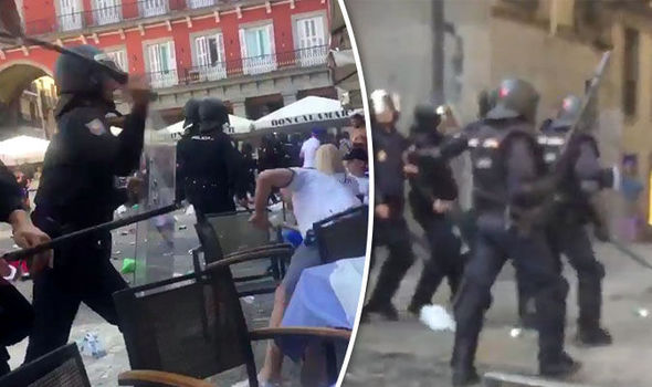 Violent clashes broke out between Leicester fans and police in Madrid
