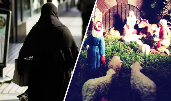 Nativity scene at the centre of religious row