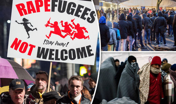 Refugees - Anti refugee march in Germany