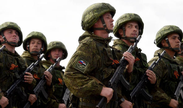 Russian soldiers on the march in Syria