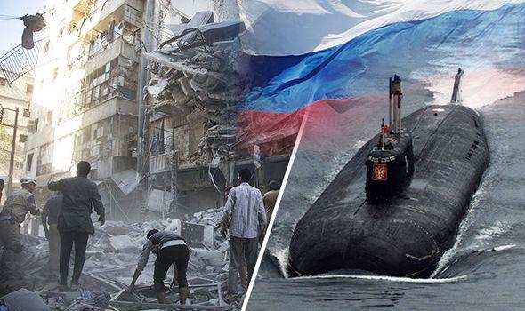 Russian submarine and Syrian city, Aleppo