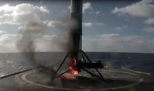 Space X Falcon 9 in flames