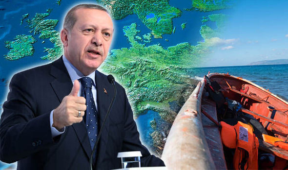 Turkish president Erdogan and a migrant boat