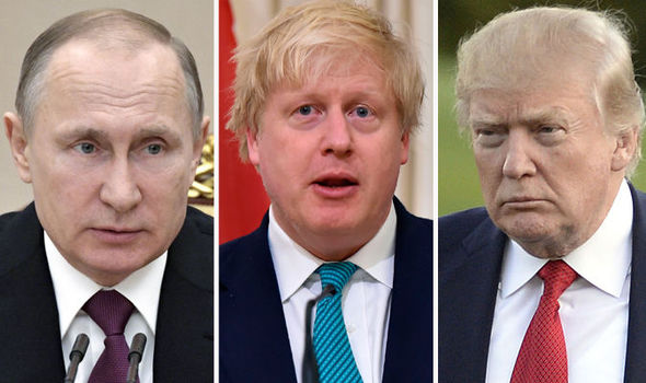 Vladimir Putin, Boris Johnson and Donald Trump