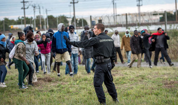 Police and refugees