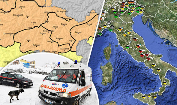 The Abruzzo and Alps regions have been issued with an avalanche alert