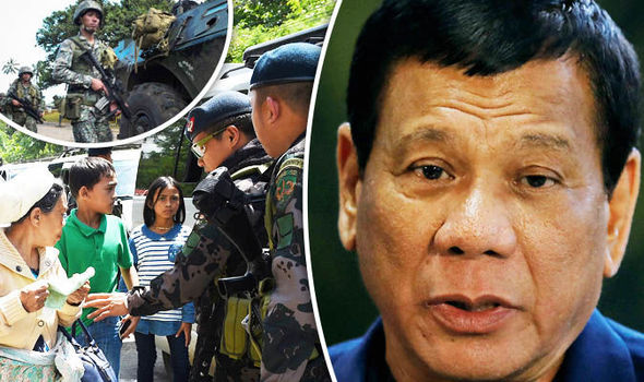 Armed officers and President Duterte
