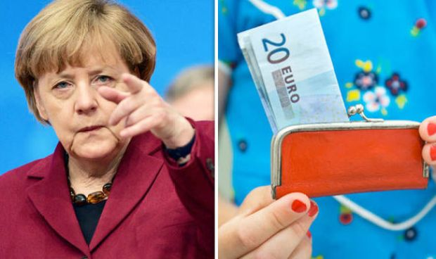 Angela Merkel and a child's purse with euros