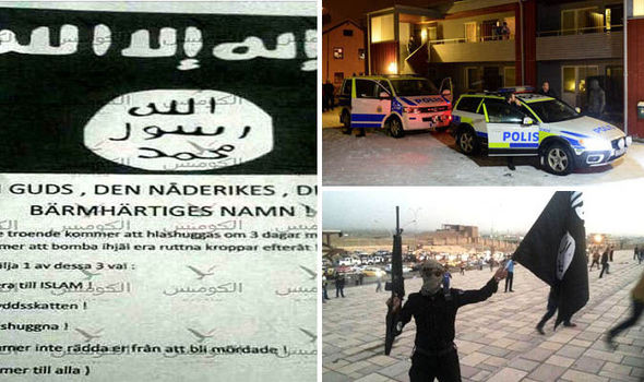 The letter, left, and ISIS fanatics, right