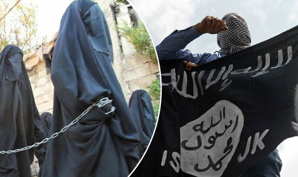 Isis fighters and women led away in chains