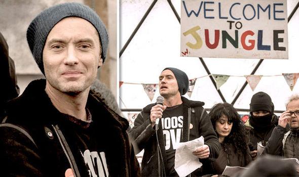 Jude Law at the Calais Jungle camp