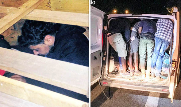 Migrants hiding in back of van in Italy