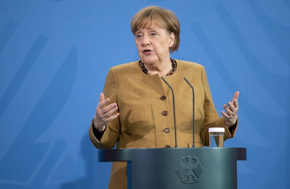Angela Merkel: The German Chancellor speaking at the virtual event