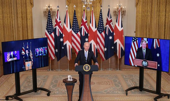 Aukus: Joe Biden was accompanied by Boris Johnson and Scott Morrison virtually
