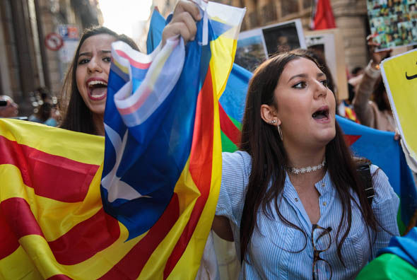 Catalonia campaigning for independence in Barcelona