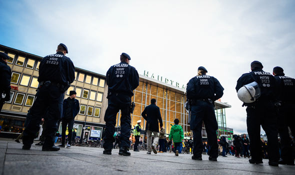 Police stand guard in the centre of Cologne