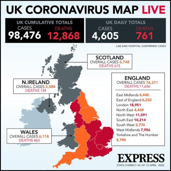 Coronavirus map shows cases in UK