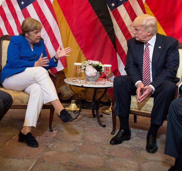 German Chancellor Angela Merkel and Donald Trump