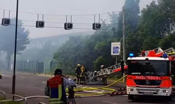Fire engine arrives on scene