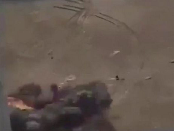 Footage from the missile strike