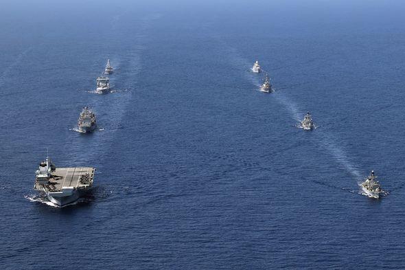 HMS Queen Elizabeth leads the maritime drills