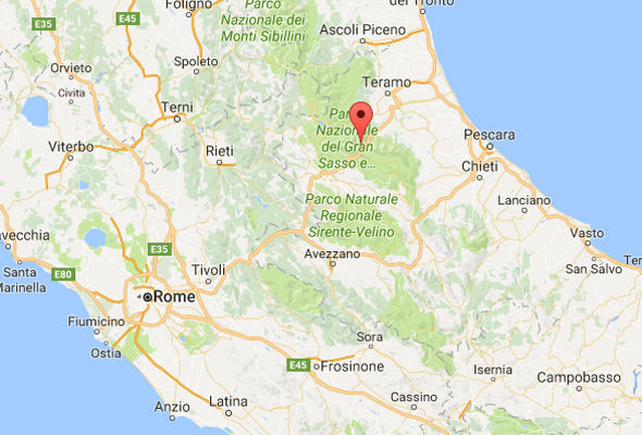 The avalanche hit the hotel on the slopes of Gran Sasso in central Italy