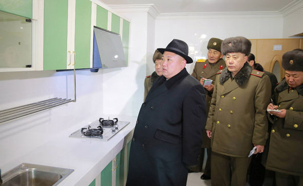 Kim Jong Un in a kitchen