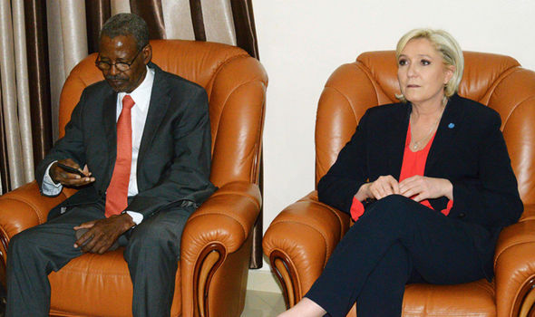 Le Pen was greeted at the airport by Chadian president cabinet director Mahamat Hissein