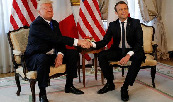 Donald Trump meets Emmanuel Macron before NATO HQ