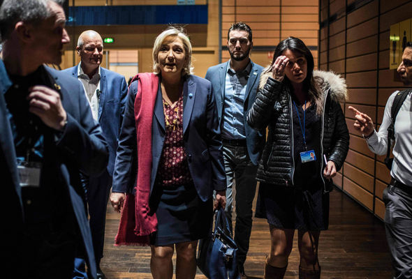 Chief of staff Catherine Griset (second right) and bodyguard Thierry Legier (third left)