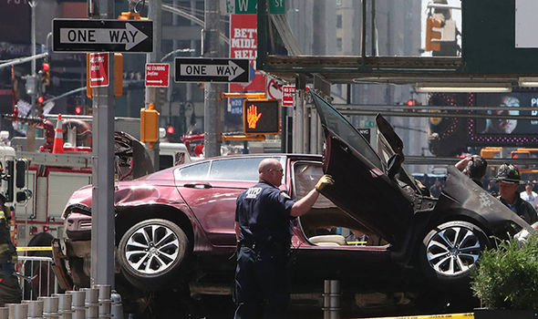 New York terror: Car on the sidewalk