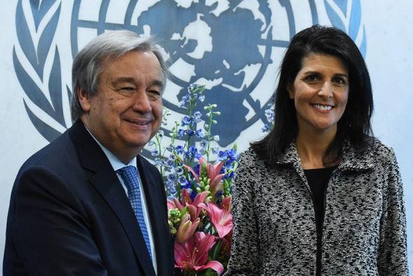 Nikki Haley and Antonio Guterres