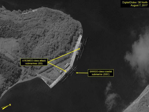 Satellite image of North Korea's submarines