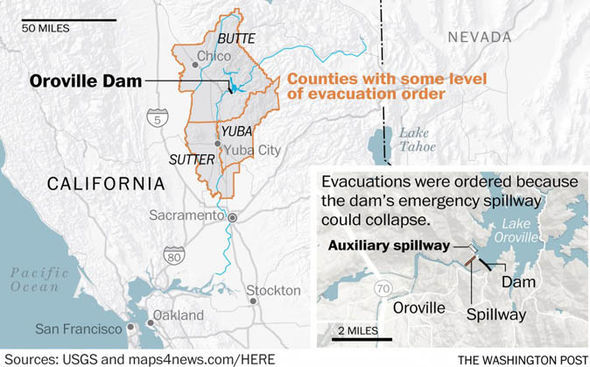 Oroville Dam evacuation map