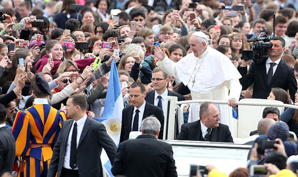 Pope Francis attended his weekly audience in St. PeterÕs Square in Rome