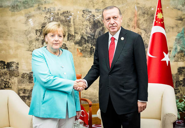 President Ergdogan with Angela Merkel