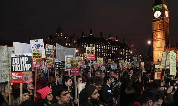 Protesters in London over the proposed state visit