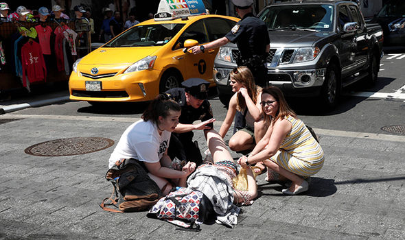 Times Square: Woman struck by car