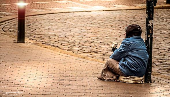 A homeless beggar