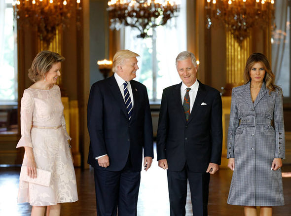 The Trump pose with the King and Queen of Belgium