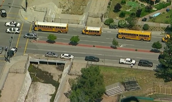 Pupils are being taken to Cal State University as parents are told to wait at Cajon High School