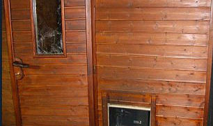 Sauna with broken window