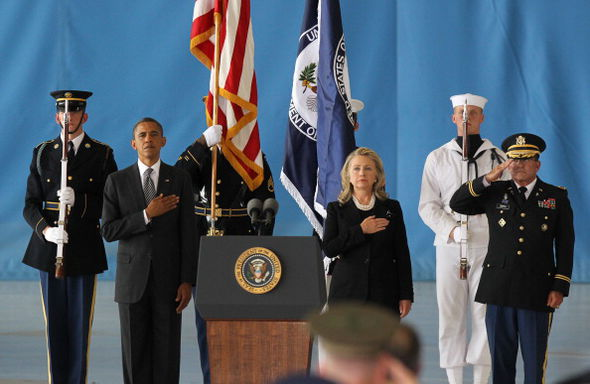 U.S. President Barack Obama and Hillary Clinton at Ambassador Christopher Stevens' Transfer of Remains Ceremony