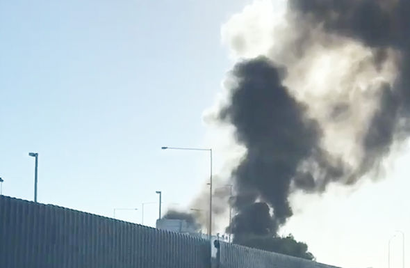 Smoke seen from the other side of Essendon Airport