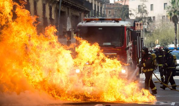 Firefighters were on the streets following a demonstration in Barcelona
