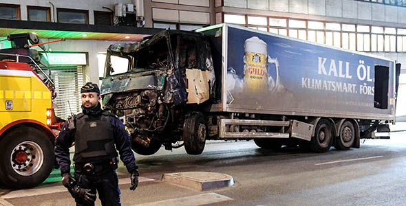The beer truck used in the Stockholm attack