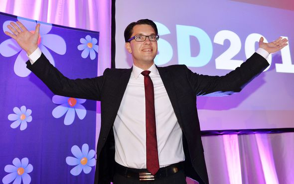 Leader Jimmie Akesson celebrates at the election night party of the far-right Sweden Democrats