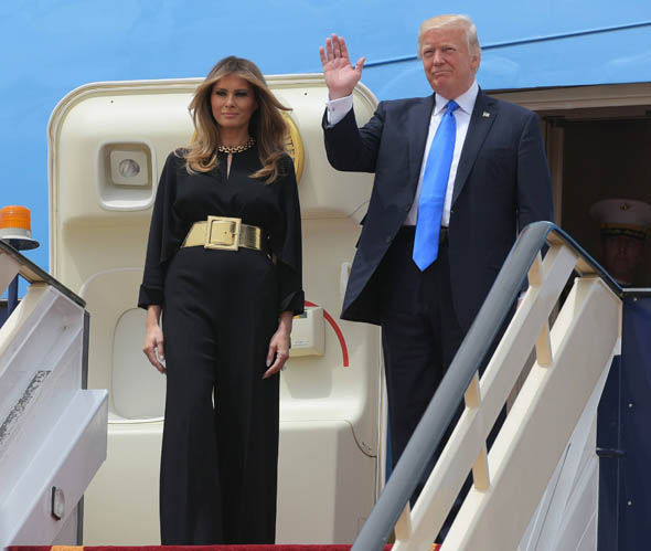 US President Donald Trump with First Lady Melania