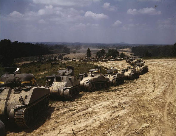 A convoy of tanks