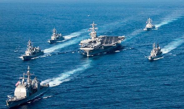 US warship on its way to the Korean peninsula